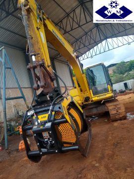 Adequação da máquina,instalação e ajustes do triturador de entulho e da peneira